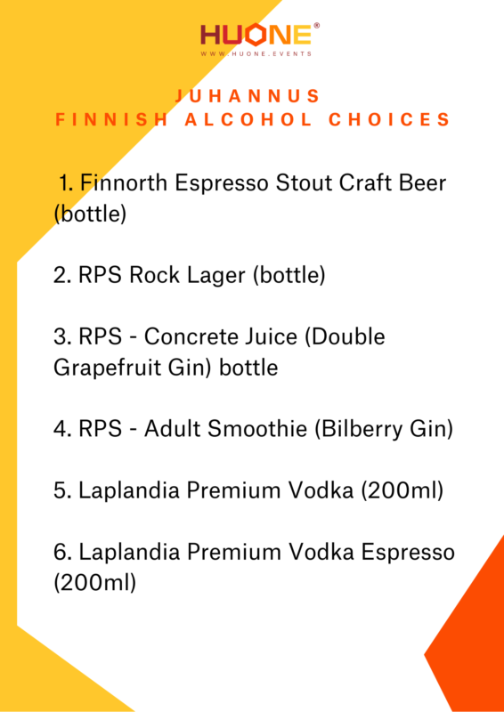 Finnish Midsummer Festival alcohol menu